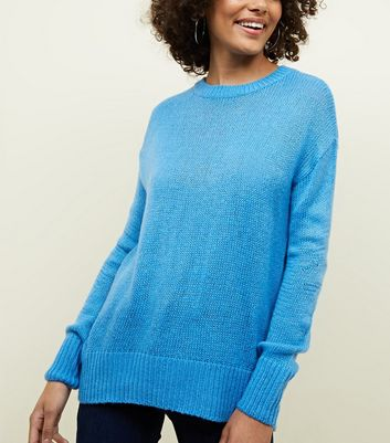 Blue Curved Hem Jumper