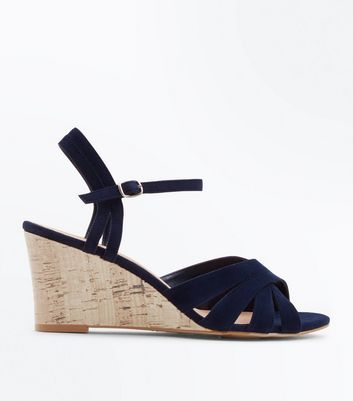 navy-suedette-low-cork-wedges by new-look