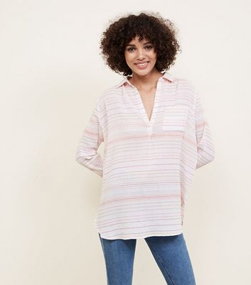 White Stripe Cotton Overhead Shirt