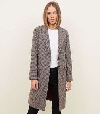 Tall Brown Check Longline Coat