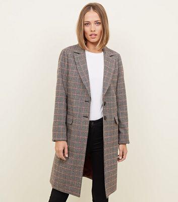 Petite Brown Check Longline Coat | New Look