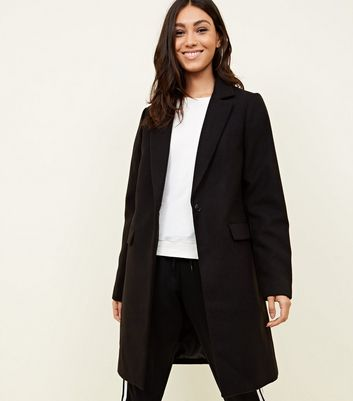 Tall Black Longline Felted Coat
