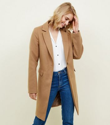 Tall Camel Longline Felted Coat