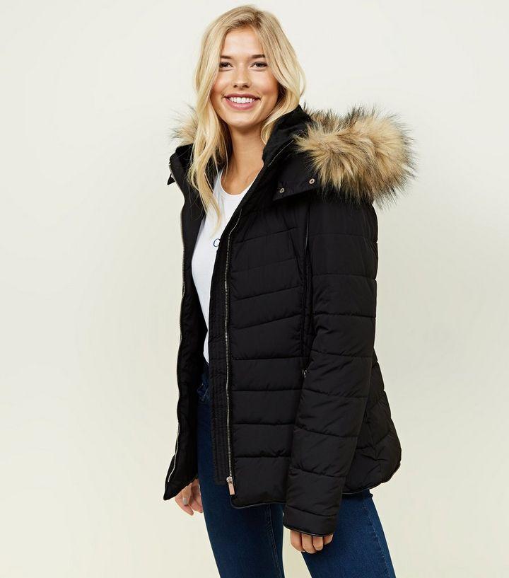 8dfd4462acf02 Tall Black Faux Fur Hooded Trim Puffer Jacket