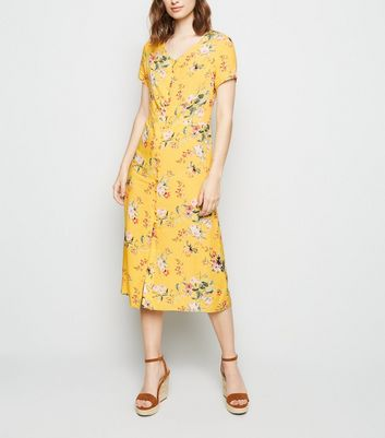 Yellow Floral Button Up Tea Midi Dress