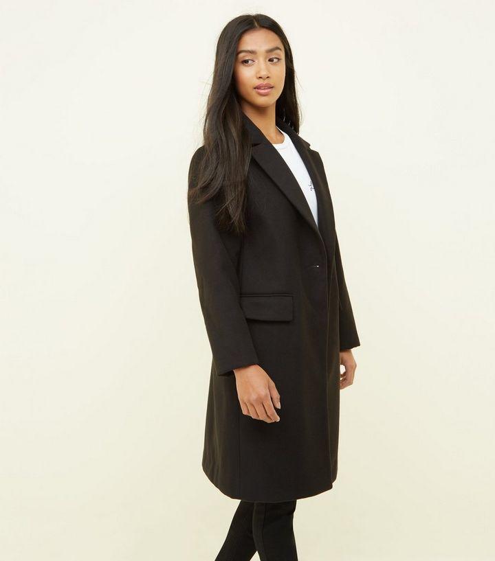 4e30e6fe40e6 Petite Black Revere Collar Longline Coat | New Look
