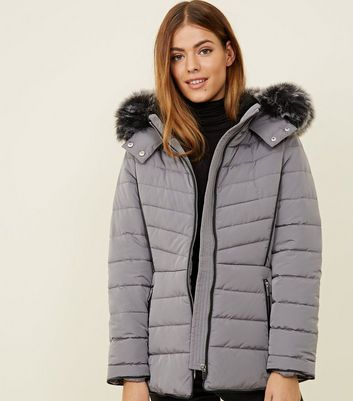 Petite Pale Grey Faux Fur Hood Fitted Puffer Jacket