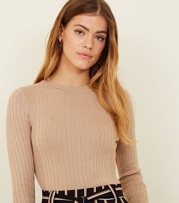 Petite Camel Crew Neck Ribbed Top