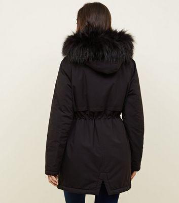 887d4c0e631c11 Parka Black New Faux Maternity Fur Hooded Trim Look wX4TYdq