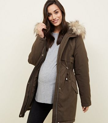 Maternity Khaki Faux Fur Trim Hooded Parka