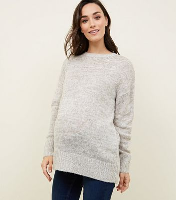 Maternity Pale Grey Knitted Jumper