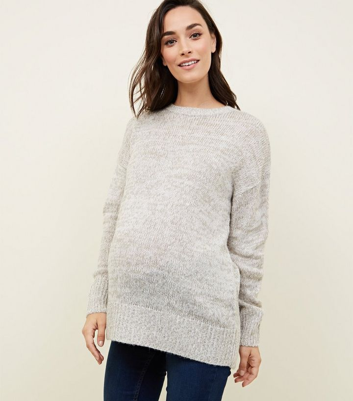 724a6989ee866 Maternity Pale Grey Knitted Jumper | New Look