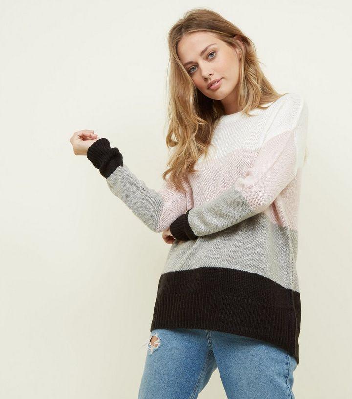 022933d1a8ac Tall White Colour Block Knitted Jumper