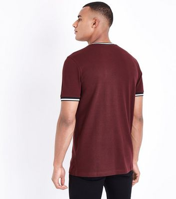Burgundy Tipped T-Shirt New Look
