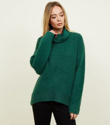 Dark Green Fluffy High Neck Jumper