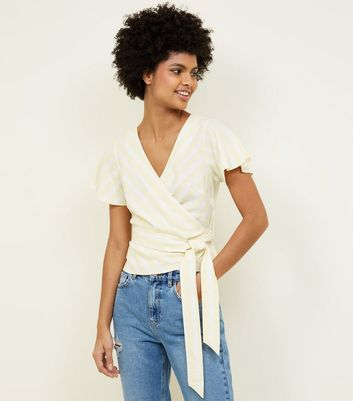Yellow Stripe Flutter Sleeve Wrap Top