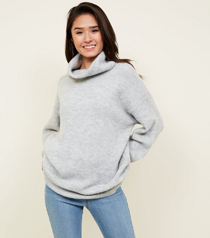 2fc24c7b978 Pale Grey Slouchy Roll Neck Jumper Add to Saved Items Remove from Saved  Items