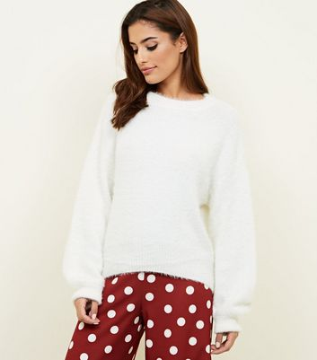 Cream Fluffy Slouchy Jumper