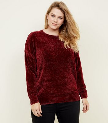 Curves Burgundy Chenille Jumper