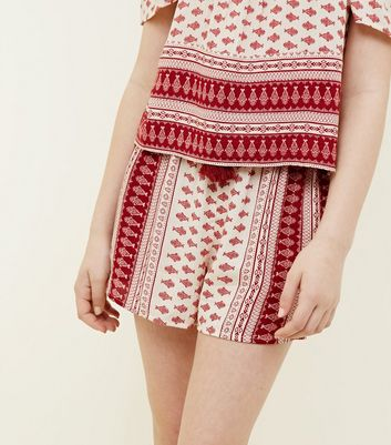 Girls Off White Folk Print Shorts