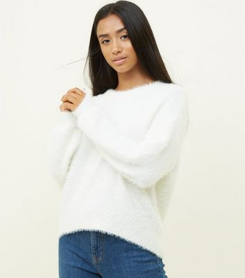 Petite Cream Fluffy Jumper