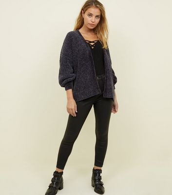 petite dark grey chenille cardigan new look