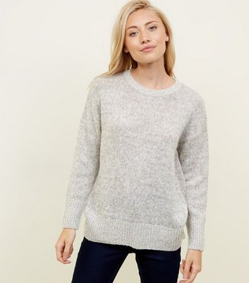 Petite Pale Grey Longline Knitted Jumper