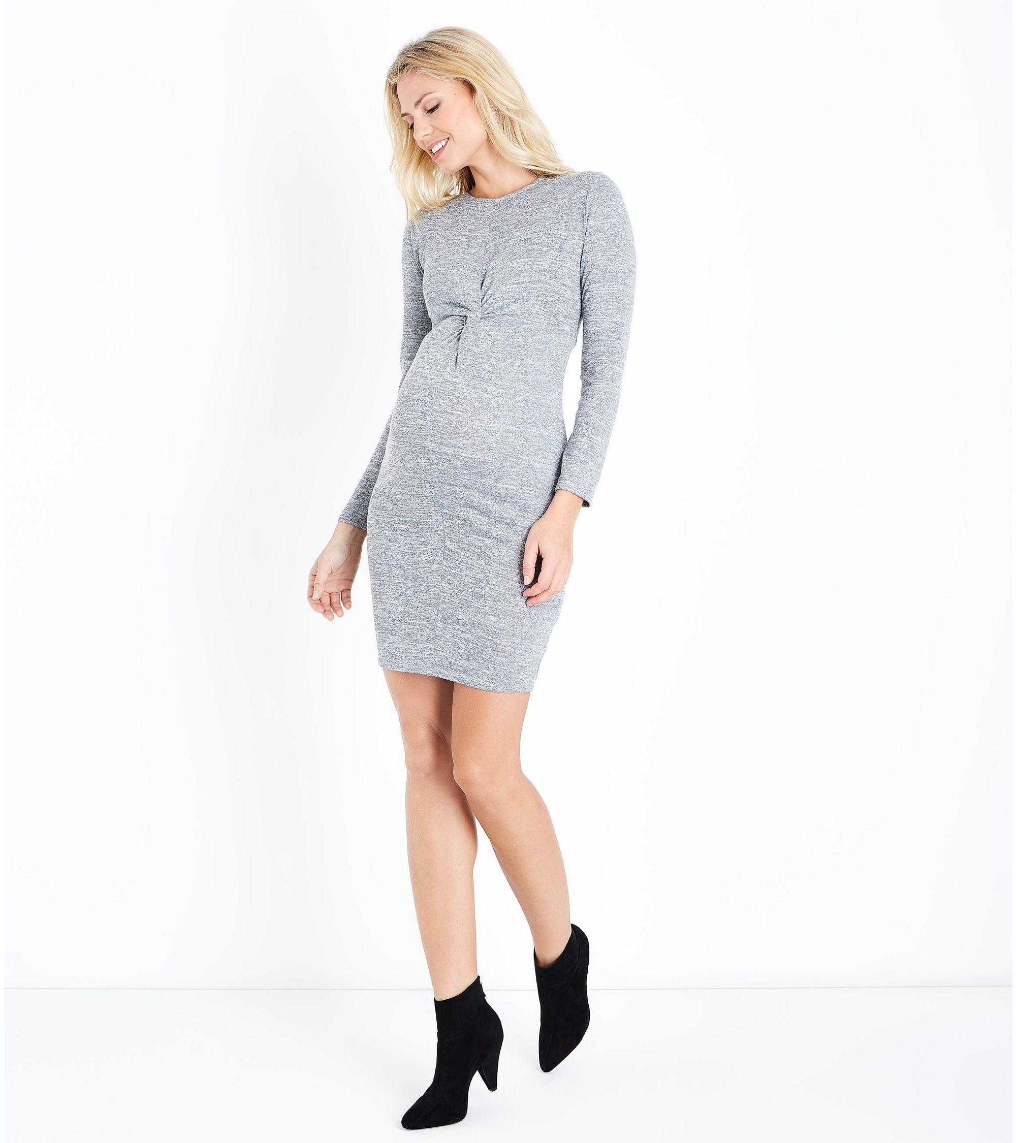 433d4cb401009 New Look Maternity Grey Fine Knit Twist Front Bodycon Dress at ...