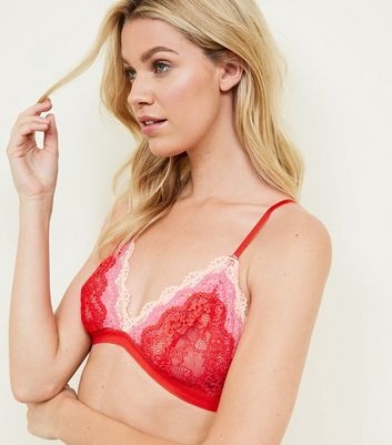 Red Tiered Ombré Lace Bralette