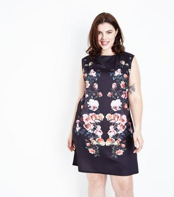 Mela Curves Black Floral Print Dress
