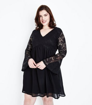 Mela Curves Black Lace Sleeve Dress