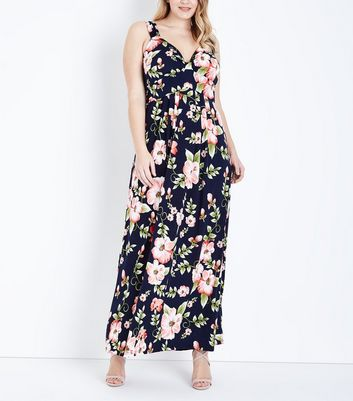 Mela Curves Blue Floral Print Maxi Dress