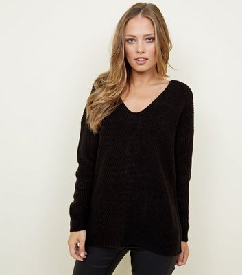Black Ribbed Lattice Back Jumper