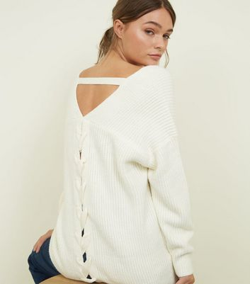 Off White Ribbed Lattice Back Jumper New Look