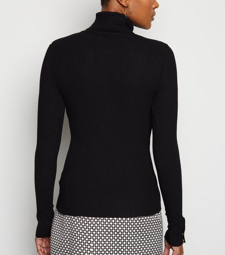 c4d2628ef182 ... Black Roll Neck Popper Cuff Jumper. ×. ×. ×. Shop the look