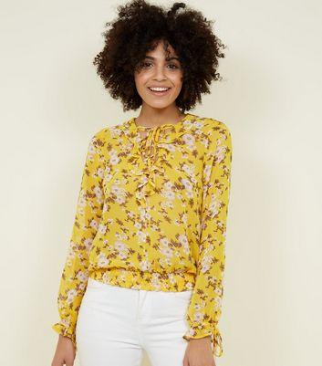 blue vanilla yellow ruffle lattice neck blouse new look