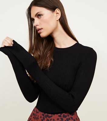 Black Crew Neck Ribbed Jumper