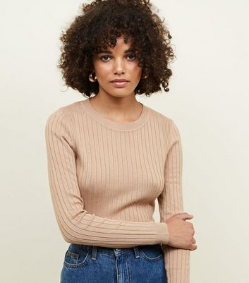 Camel Crew Neck Ribbed Jumper