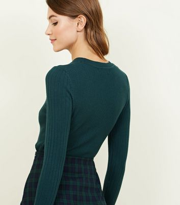 Dark Green Crew Neck Ribbed Jumper