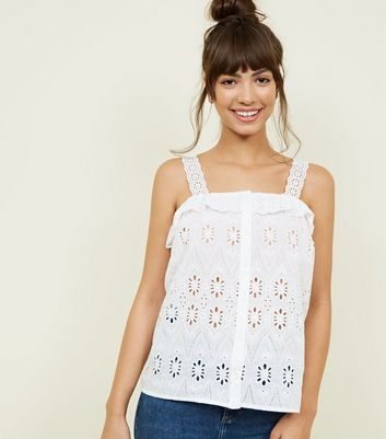 White Floral Cut Out Frill Trim Cami