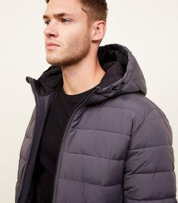 shop for Men's Dark Grey Hooded Puffer Coat New Look at Shopo