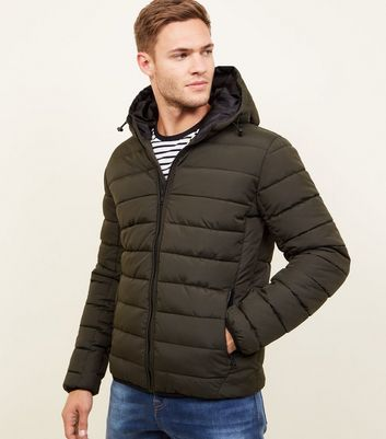 Khaki Hooded Puffer Coat