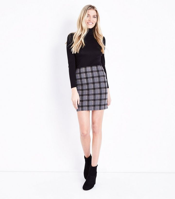 429f66281e Dark Grey Check Tube Skirt | New Look