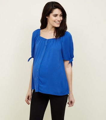 Maternity Blue Square Neck Button Front Top