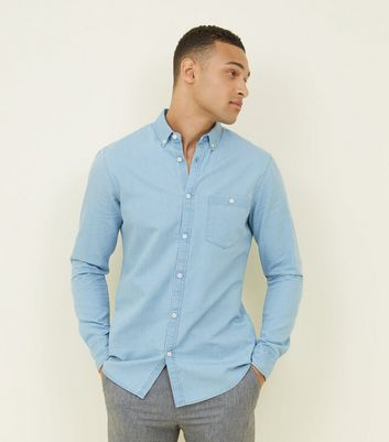 Pale Blue Washed Denim Shirt