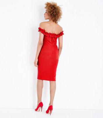 Red Ruffle Bardot Midi Dress – AX Paris