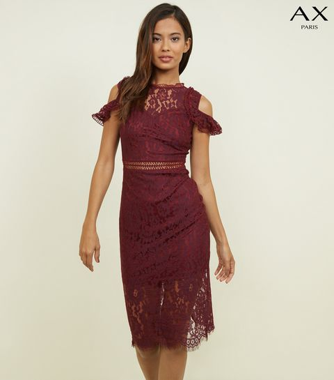30e2b47424 ... AX Paris Burgundy Lace Cold Shoulder Dress ...