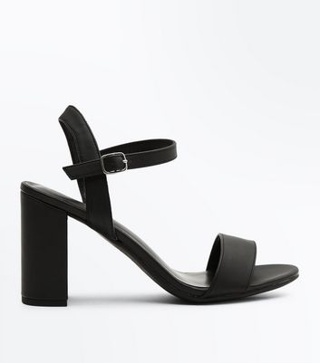 Black Two Part Block Heel Sandals