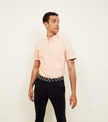 Orange Oxford Short Sleeve Shirt