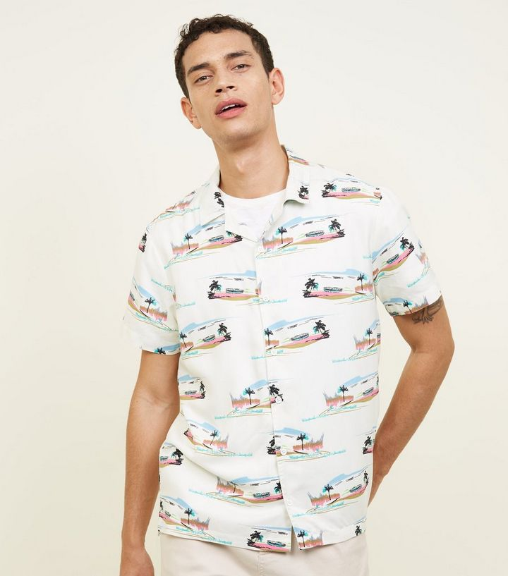 a86efa82eb Off White Beach Print Viscose Shirt | New Look